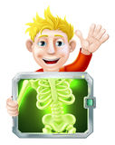 Xray Man Waving. Illustration of a cartoon man or bay getting a medical x ray and waving with his hand Stock Photo