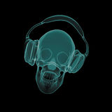 Xray skull with headphones Stock Photography