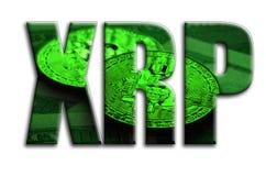 xrp L'inscription a une texture de la photographie, qui dépeint plusieurs bitcoins sur des billets d'un dollar illustration libre de droits