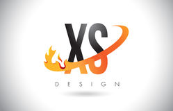 XS X S Letter Logo with Fire Flames Design and Orange Swoosh. Royalty Free Stock Photography