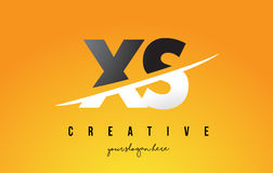 XS X S Letter Modern Logo Design with Yellow Background and Swoo Royalty Free Stock Photos