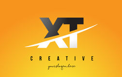 XT X T Letter Modern Logo Design with Yellow Background and Swoo Royalty Free Stock Photo