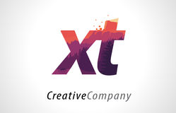 XT X T Letter Logo Design with Purple Forest Texture Flat Vector Stock Image