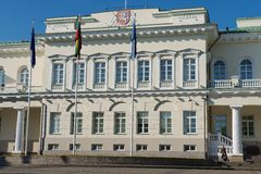Xterior of the Presidential palace early in the morning in Vilnius city, Lithuania. Royalty Free Stock Photos
