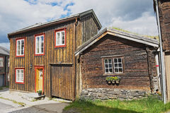 Xterior of the traditional timber houses of the copper mines town of Roros, Norway. Royalty Free Stock Images