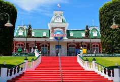 Xterior view of entrance to Dreamworld theme park in Australia. Coomera, Queensland, Australia - January 9, 2018. Exterior view of entrance to Dreamworld theme stock image