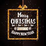 Xtmas and Happy new year golden banner Stock Photography