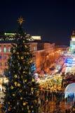 Xtree avec des décorations de nouvelle année sur la place du ` s de Sophia Image libre de droits