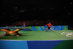 Xu Xin playing table tennis at the Olympic Games in Rio 2016. Xu Xin from China playing table tennis at the Olympic Games in Rio 2016 Royalty Free Stock Photos