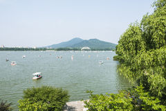 Xuanwu jezioro i Purpurowa góra Fotografia Royalty Free