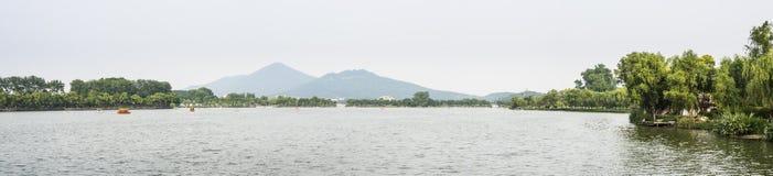 Xuanwu jezioro i Purpurowa góra Zdjęcia Stock