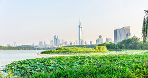 Xuanwu Lake and Nanjin city Royalty Free Stock Image