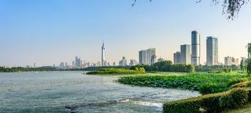 Xuanwu Lake and Nanjin city Stock Photo