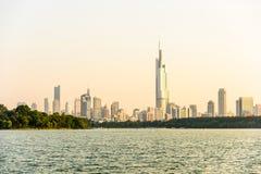 Xuanwu Lake and Nanjin city royalty free stock images