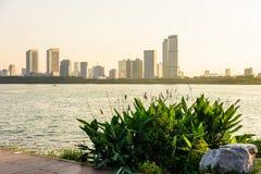 Xuanwu Lake and Nanjin city stock images