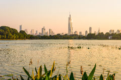Xuanwu Lake and Nanjin city stock image