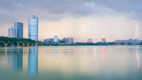 Xuanwu Lake. In Nanjing city, is a purple mountain national scenic area at the foot of, China's largest Imperial garden Lakes, contemporary only South garden Royalty Free Stock Photo