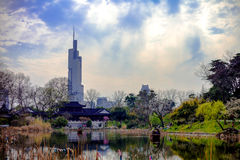Xuanwu Lake and Nanjing Zifeng Tower Royalty Free Stock Images