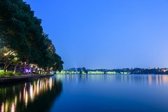 Xuanwu Lake Park night view royalty free stock image