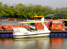 Xuanwu Lake sightseeing Boats dock Stock Image
