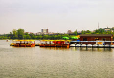 Xuanwu Lake sightseeing Boats dock Royalty Free Stock Image