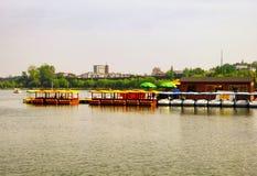 Xuanwu Lake sightseeing Boats dock. Sightseeing Boats dock on Xuanwu Lake in nanjing city jiangsu province China Royalty Free Stock Image
