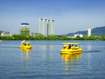 Xuanwu Lake sightseeing Boats Stock Photography