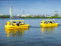 Xuanwu Lake sightseeing Boats Royalty Free Stock Photography
