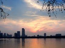 Xuanwu Lake Sunset Royalty Free Stock Photos