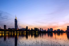 Xuanwu Lake sunset Stock Photo