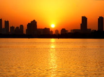 Xuanwu lake sunset view Royalty Free Stock Image