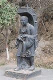 Xuanzang雕象,著名中国佛教徒 库存照片