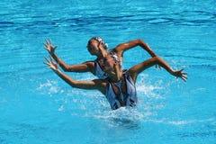 黄Xuechen和太阳Wenyan队中国任意竞争在花样游泳二重奏里约的惯例初阶期间2016年 库存图片