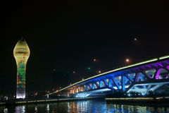 Xuhui riverside bridge. At night.The lights are very beautiful Royalty Free Stock Photo