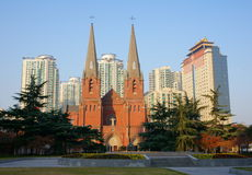 Xujiahui Cathedral. The Xujiahui Cathedral is the largest Catholic church in Shanghai with a long history.The church was established in 1904. It's very beautiful Stock Photos