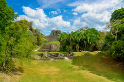Xunantunich maya site ruins in belize. Amazing landscape of xunantunich maya site ruins in belize caribbean Royalty Free Stock Photography