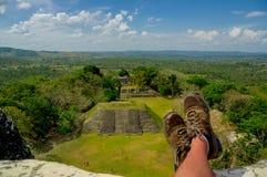 Xunantunich maya site ruins in belize stock photography