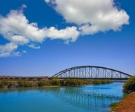 Xuquer Jucar river metal bridge in Fortaleny of Valencia royalty free stock photo