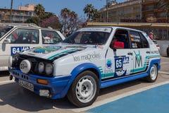 XV集会肋前缘Brava历史的赛车在一个小镇Palamos在卡塔龙尼亚 04 20 2018年西班牙,镇Palamos 免版税图库摄影