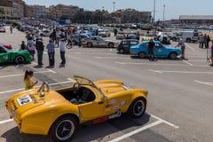 XV集会肋前缘Brava历史的赛车在一个小镇Palamos在卡塔龙尼亚 04 20 2018年西班牙,镇Palamos 库存图片