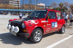 XV Rally Costa Brava Historic car race in a small town Palamos in Catalonia. 04. 20. 2018 Spain, town Palamos Royalty Free Stock Images