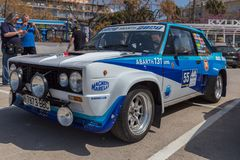 XV Rally Costa Brava Historic car race in a small town Palamos in Catalonia. 04. 20. 2018 Spain, town Palamos Royalty Free Stock Photos