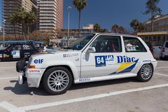 XV Rally Costa Brava Historic car race in a small town Palamos in Catalonia. 04. 20. 2018 Spain, town Palamos Stock Photos