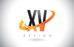 XV X V Letter Logo with Fire Flames Design and Orange Swoosh. Royalty Free Stock Photo