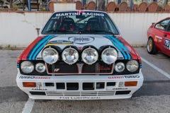XV Zlotnego Costa Brava Historyczna samochodowa rasa w miasteczku Palamos w Catalonia 04 19 2018 Hiszpania, grodzki Palamos Zdjęcia Royalty Free
