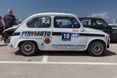 XV Zlotnego Costa Brava Historyczna samochodowa rasa w miasteczku Palamos w Catalonia 04 20 2018 Hiszpania, grodzki Palamos Obraz Stock