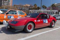 XV Zlotnego Costa Brava Historyczna samochodowa rasa w miasteczku Palamos w Catalonia 04 20 2018 Hiszpania, grodzki Palamos Obrazy Stock