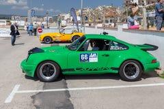 XV Zlotnego Costa Brava Historyczna samochodowa rasa w miasteczku Palamos w Catalonia 04 20 2018 Hiszpania, grodzki Palamos Zdjęcia Stock