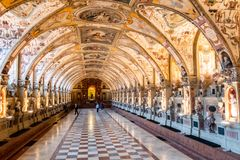 XVI век Antiquarium Hall древностей во дворце Residenz, Мюнхене, Германии стоковая фотография
