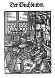 XVI century - Art and craft:the bookbinder workshop Royalty Free Stock Photography